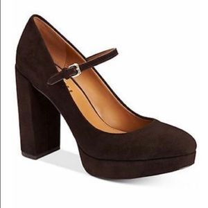 Coach Goldie chestnut platform suede shoes